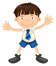 A boy illustrtion of in school uniform on white Royalty Free Stock Image