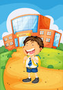Boy infront of school illustration a Royalty Free Stock Image