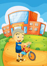Boy infront of school illustration a Royalty Free Stock Photos
