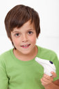 Boy with inhaler Stock Photography