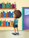 A boy inside the library illustration of Stock Images