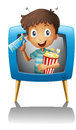 A boy inside the tv with a popcorn and a ticket illustration of on white background Stock Photo