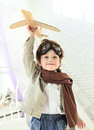 Boy with jet airplane in hand happy Royalty Free Stock Photo
