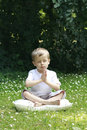 Boy and joga Royalty Free Stock Images