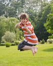 Boy Jumping in the Air Royalty Free Stock Image