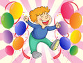A boy jumping with balloons at his side illustration of Stock Photo