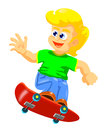 Boy jumping with his skateboard Royalty Free Stock Images