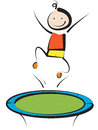 Boy jumping on trampoline smiling cartoon Stock Photos