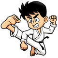 Boy karate kick vector illustration of Stock Photography