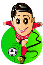 Boy kick football running cartoon graphics to run the a popular sport with strength and look forward goal is to cartoon smiling Royalty Free Stock Image