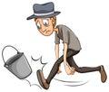 A boy kicking the pail on white background Royalty Free Stock Photos