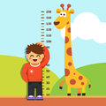 Boy kid measuring his height at kindergarten wall is with painted graduations on the vector flat style isolated cartoon Stock Photography