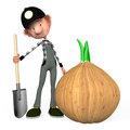 The boy on a kitchen garden with a shovel grew up bulb Stock Images