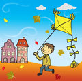 Boy with the Kite Stock Images