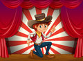 A boy kneeling at the center of the stage illustration Royalty Free Stock Photo