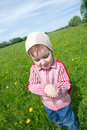 Boy and  ladybird  on meadow Royalty Free Stock Photo