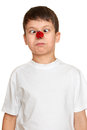 Boy with ladybug on nose make faces, teenager fun portrait closeup Royalty Free Stock Photo