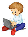 A boy and laptop Royalty Free Stock Photos