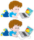 Boy with a laptop little illustrator drawing colorful fish on his computer two versions of the illustration Stock Image