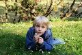 Boy on a Lawn Royalty Free Stock Photo
