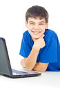 Boy learns lessons at a laptop happy Stock Images