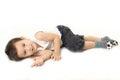 Boy lie down on the floor a little Royalty Free Stock Photos