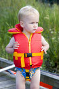 Boy in life jacket Stock Photography
