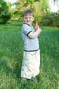 Boy like agent of security little with water gun learns to defend Royalty Free Stock Image