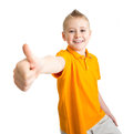 Boy with like gesture isolated on white Royalty Free Stock Photos