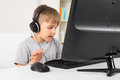 Boy Listening Music In Headphone Royalty Free Stock Photo