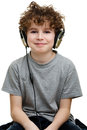 Boy listening to music young isolated on white Royalty Free Stock Photo