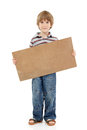 Boy little funny cheerful holding blank cardboard isolated on wh banner white background Stock Images