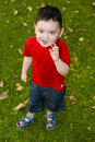 Boy with lolli in the park Stock Images