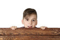 Boy look over fence Royalty Free Stock Photo