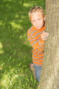 Boy looking from behind a tree school age is in summer park Royalty Free Stock Image