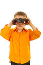 Boy looking through binocular Stock Photos