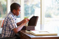 Boy looking at document in keepsake box on desk precious home Stock Photo