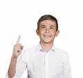 Boy looking, pointing up has idea, solution Royalty Free Stock Photo