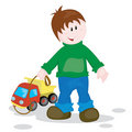Boy and lorry Royalty Free Stock Photo