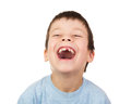 Boy with a lost tooth laugh isolated Stock Photo