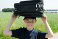 Boy with luggage Royalty Free Stock Photos