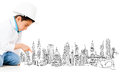 Boy with the main cities Royalty Free Stock Photo