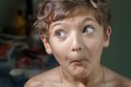 Boy make faces, surprise Royalty Free Stock Photo