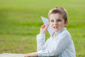 Boy making paper plane Royalty Free Stock Photo
