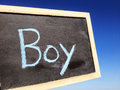 Boy man men cyan blue write word big Stock Photo