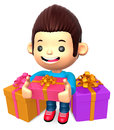 The boy in the many gifts Royalty Free Stock Image