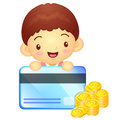 The boy mascot is holding a big credit card korea traditional c cultural character design series Stock Photos