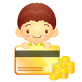 The boy mascot is holding a big credit card korea traditional c cultural character design series Stock Images