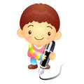 The boy mascot with a large pen is writing korea traditional c cultural character design series Royalty Free Stock Image