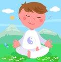 Boy in meditation pose vector